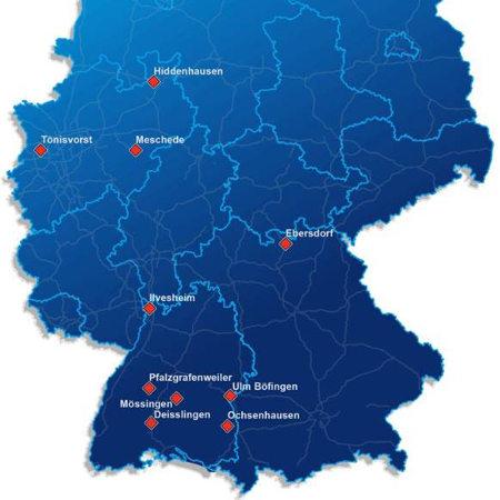Deutschlandkarte mit Orten