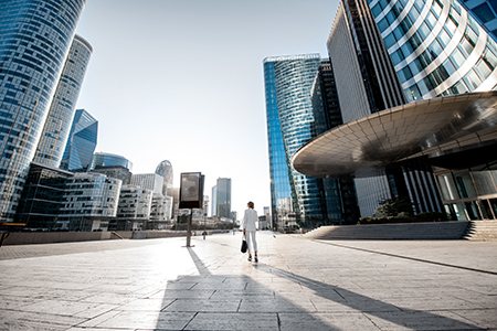 Financial District With Business Woman In Paris