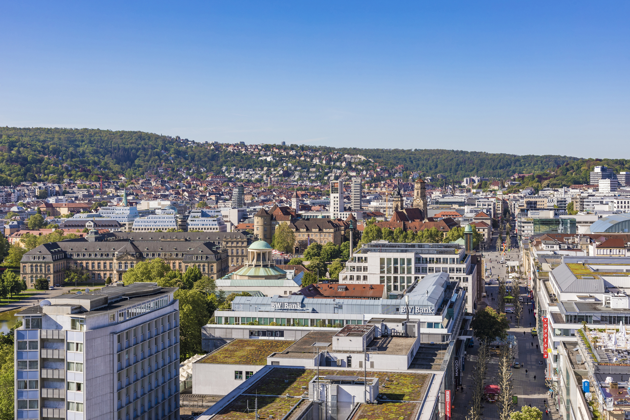 View Over Downtown Stuttgart With Koenigstrasse, Germany
