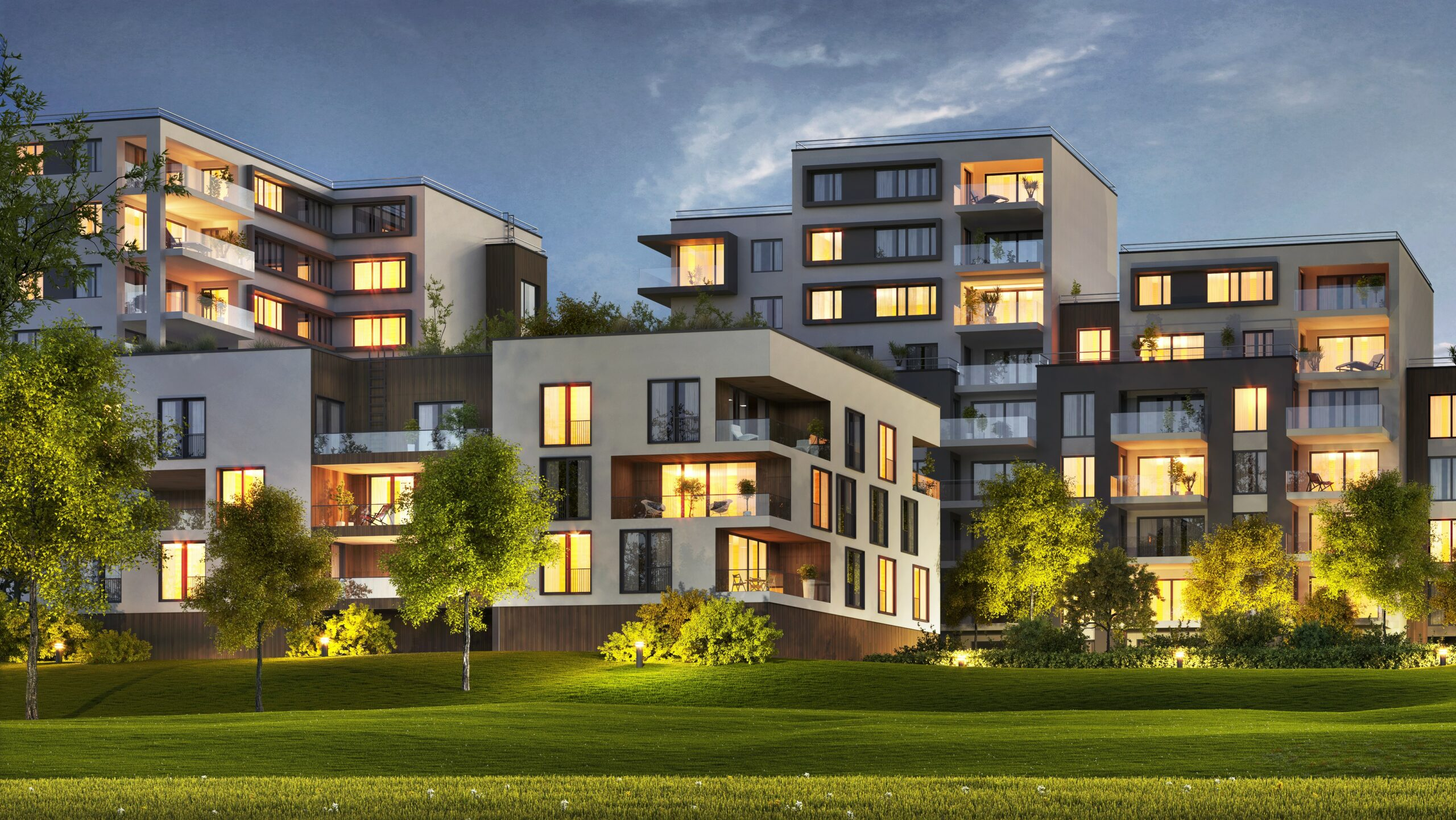 Scenic Night View Of Modern Architecture Of Residential Buildings